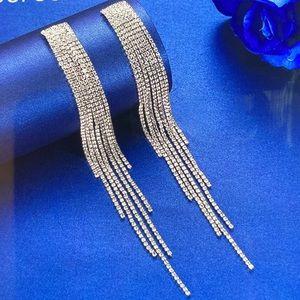 Long Rhinestone Crystal Earrings